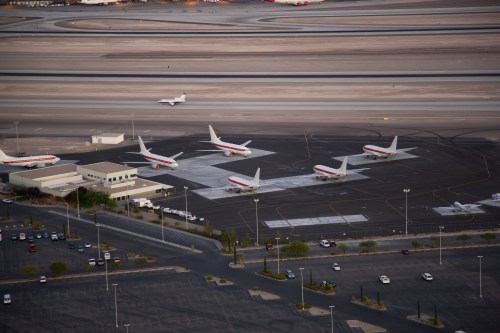 The mysterious jets are lined up beside a private terminal at the McCarran International Airport near Las Vegas