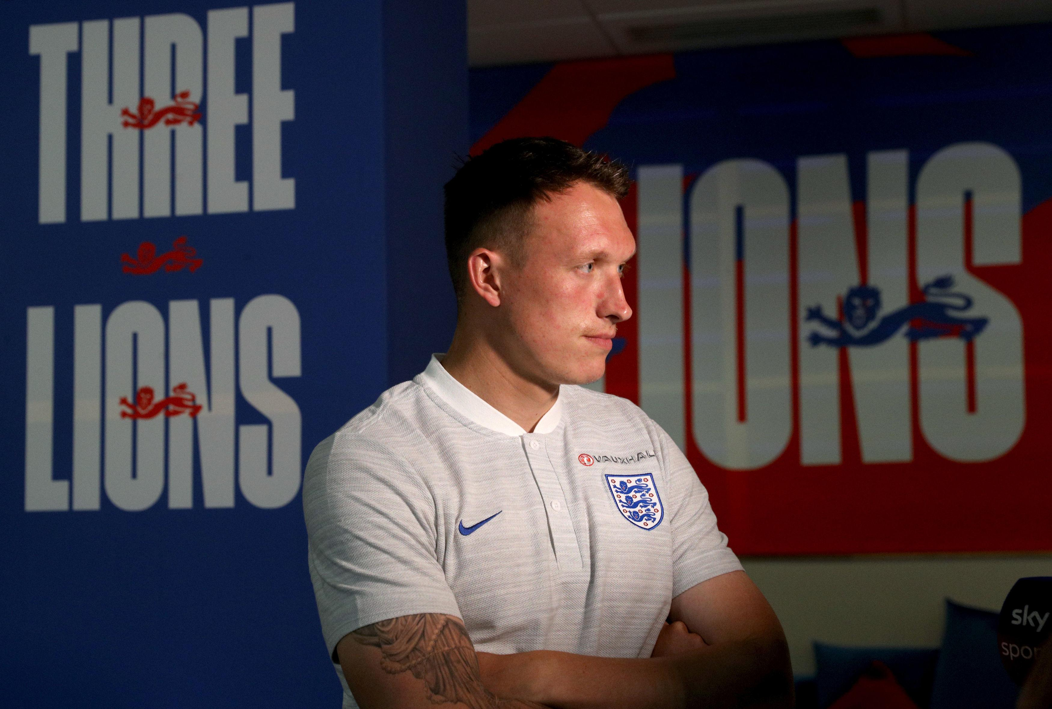 What are the Three Lions lyrics  why do England fans sing the     England s Phil Jones during the press conference at Repino Cronwell Park   Repino  Russia