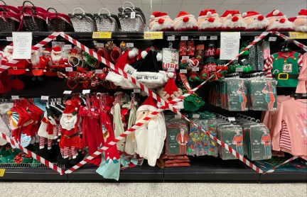 In Wales, festive decorations have been taped off under the country's 17-day 'firebreak' lockdown