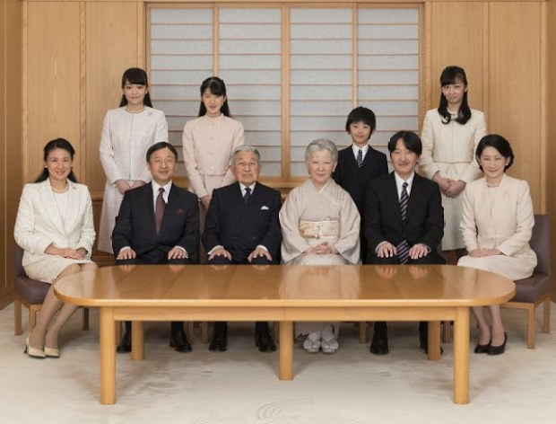 vlnr staand: prinses Mako van Akishino, prinses Toshi no Miya (Aiko), prins Hisahito van Akishino en prinses Kako van Akishino vlnr zittend: kroonprinses Masako, kroonprins Naruhito, Keizer Akihito, Keizerin Michiko, prins Akishino en zijn vrouw prinses Kiko)