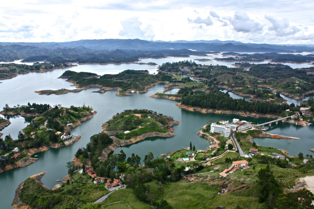 View of the reservoir from the top of La Piedra, Guatape, Colombia