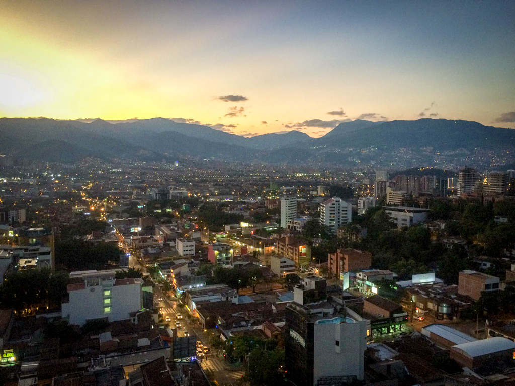 The view from Envy Rooftop Bar at the Charlee Hotel, Medellin, Colombia