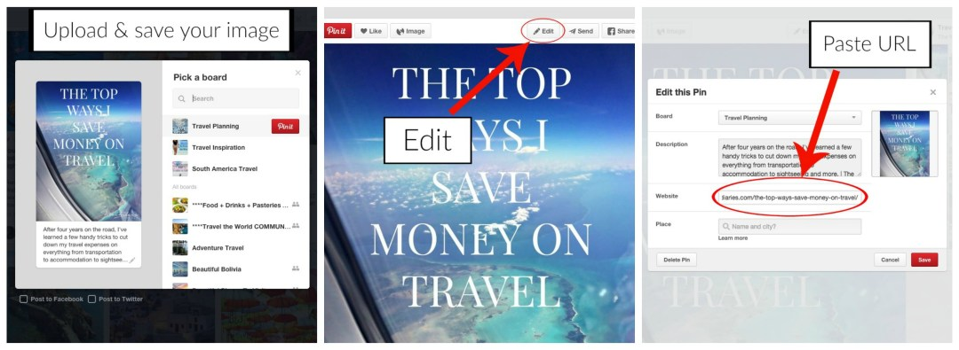 Adding a URL to your Pinterest images