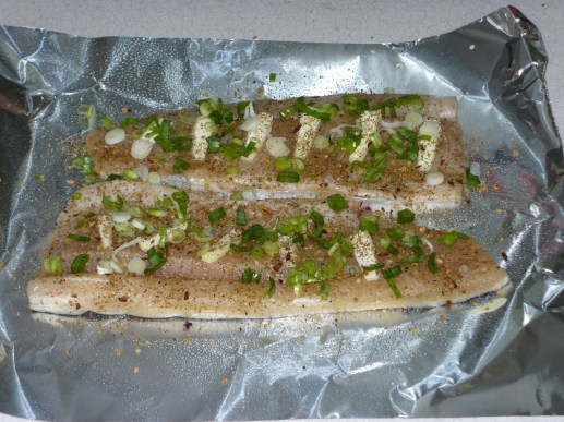 Step 4 completed--note seasoning, butter slices, and green onions