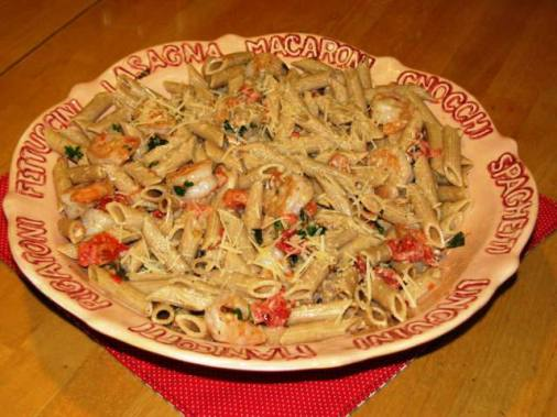 Pasta with Shrimp and Herbed Tomato Cream Sauce