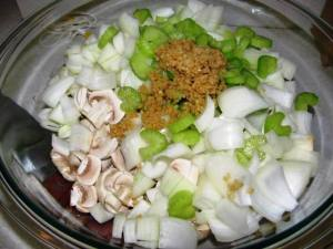 Mushrooms, onion, celery and garlic, ready to saute'