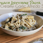 Meatless Monday: Spinach Artichoke Pasta with Creamy Garlic Alfredo Sauce