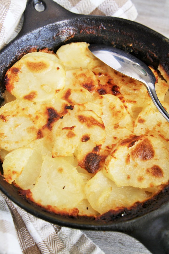 Savor every bite of this creamy, decadent Three Cheese Potato Gratin.
