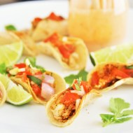 One-Bite Fish Tacos with Creamy Chipotle Sauce