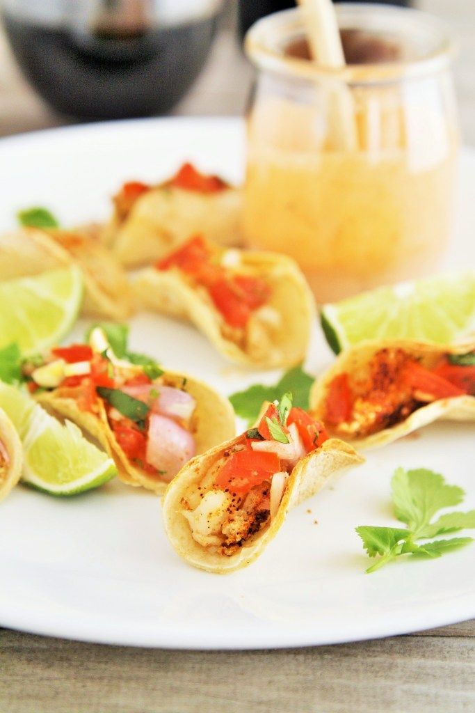 One bite fish tacos with creamy chipotle sauce for Creamy sauce served with fish