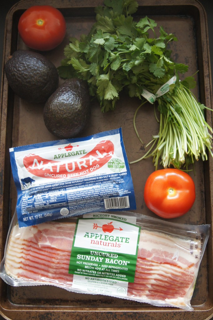 Ingredients for bacon wrapped hot dogs