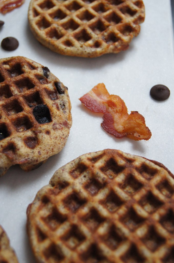 Paleo Bacon and Chocolate Chip Waffles