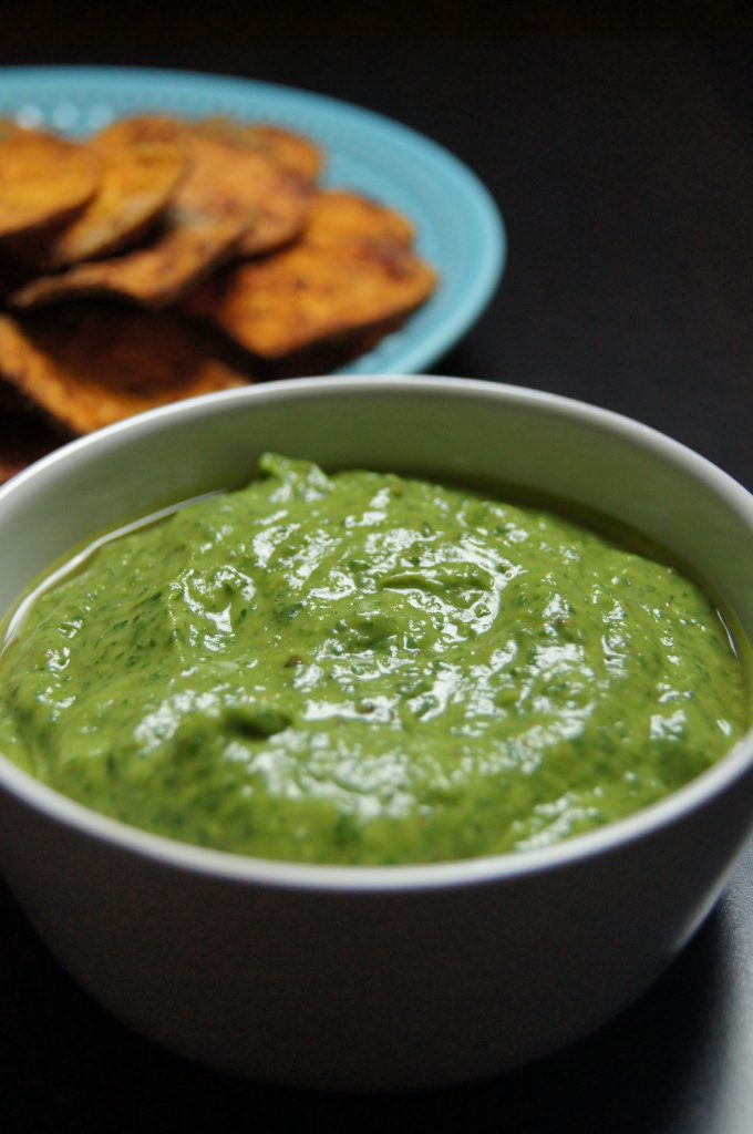 Baked Sweet Potato Chips with Avocado Cilantro Dip