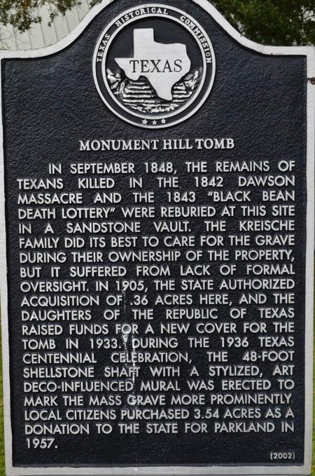 Historical Marker monument hill tomb, La Grange Texas