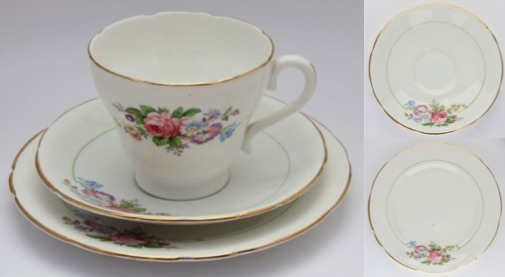 Vintage fine bone china tea trio - No name indicated but with marking