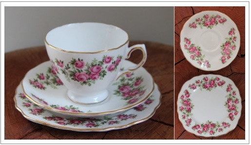 Vintage fine bone china tea trio - Pink Roses