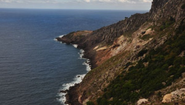 The rugged Saba coastline