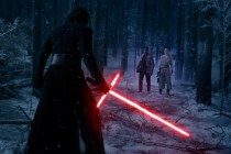 Star Wars: The Force Awakens L to R: Kylo Ren (Adam Driver), Finn (John Boyega), and Rey (Daisy Ridley) Ph: David James © 2015 Lucasfilm Ltd. & TM. All Right Reserved.