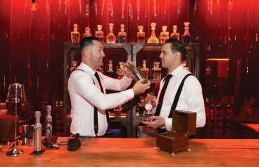 LONDON, ENGLAND - FEBRUARY 02: The 'Night that Flows', the world's first drive through immersive theatre experience concludes in a London bar, where guest were greeted by the mixologist duo, Alex Kratena and Simone Caporale on February 2, 2017 in London, England. 'The Night that Flows' centred around guests finding their flow and took inspiration from the 'flowing' design of the new Toyota C-HR. The event saw 100 guests from across Europe take part in the world first event. (Photo by Stuart C. Wilson/Getty Images for Toyota) *** Local Caption *** Alex Kratena; Simone Caporale