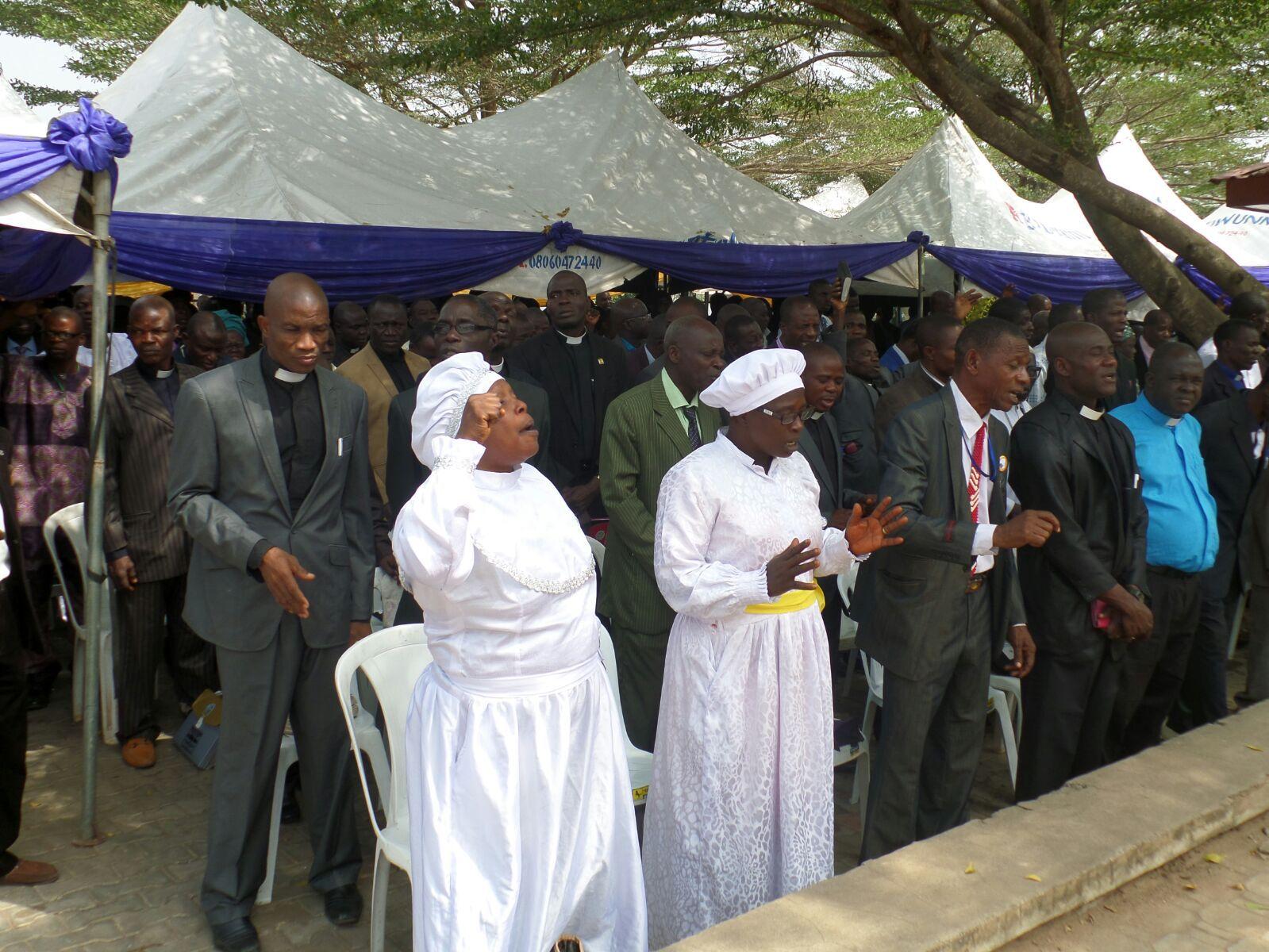 Governor Ayodele Fayose of Ekiti State holds prayer meeting with clergymen in Ado Ekiti, December 22, 2015 | Ekiti Gov't Photo