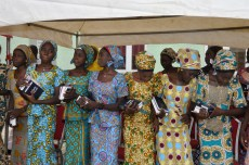 Some of the Chibok school girls recently released from captivity dancing at a special thanksgiving service held in Abuja on Sunday, October 16, 2016 | Fed. Min Of Information