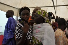 One of the recent released Chibok school girls with her mother at a special thanksgiving service held in Abuja on Sunday, October 16, 2016 | Fed. Min Of Information