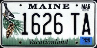 Maine license plate sample   via www.theus50.com/Google Image Search