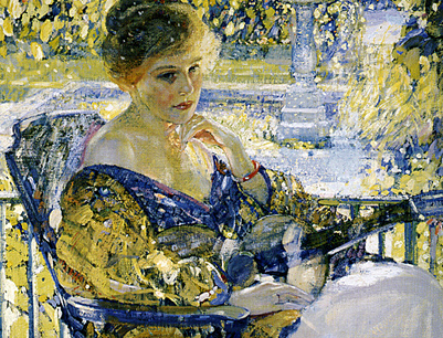 "(""Girl with a Guitar (Daydreams)"" by Richard E. Miller, 1916-17)"