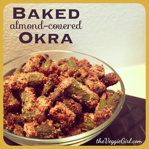 Baked, Almond-Covered Okra