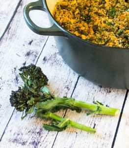 Purple Sprouting Broccoli Farro Risotto Bake