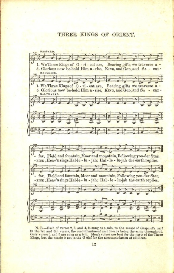 Three Kings of Orient John Henry Hopkins Jr 1863 New York We Three Kings Christmas Xmas carol song 1
