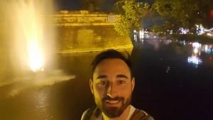 Chiang Mai's city walls and moat at night