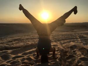 Yoga on the dunes outside of Mui Ne
