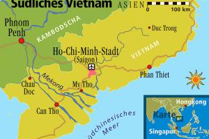 Map of the Mekong Delta in relation to Ho Chi Minh City and the surrounding area