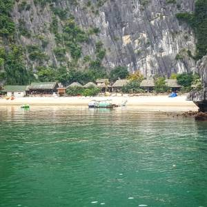 Our island beach in Ha Long Bay. Long trip couldn't wait to chill, but first I had to climb those beasts!
