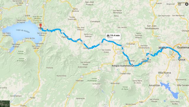 Antigua and Lake Atitlan Map