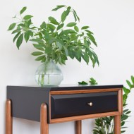 Satin Black Mid Century Nightstand Makeovers