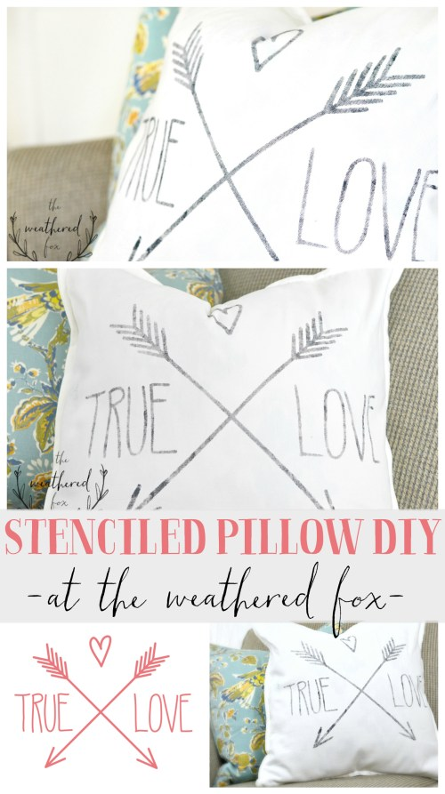 Stencil Pillow DIY Tutorial. This is such a quick 20 minute project that makes a huge home decor statement! I'm getting a Cricut after seeing this! Great Valentines Day Gift!