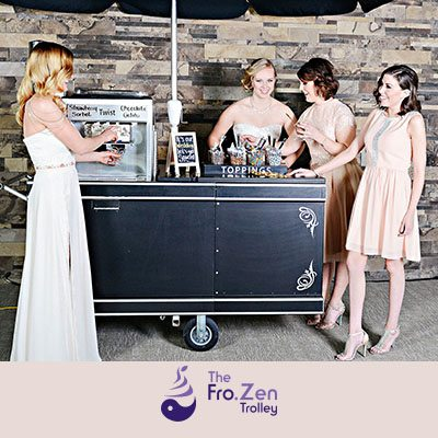 Trolley Mobile self-serve sundae bar with options for everyone. You choose. The Fro.Zen Trolley set up. You create!