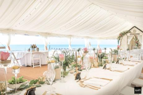 Our matte gold cutlery table settings on hire at Beach Weddings Bournemouth