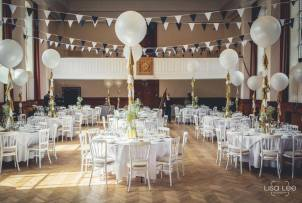 Our white cheltenham chairs with ivory seat pads and 6ft round tables on hire at Talbot Heath