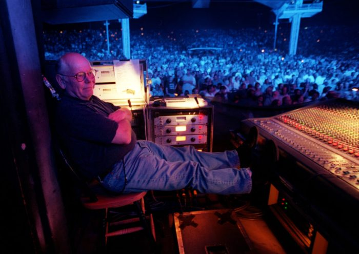 Onstage Sound Engineer Bob Pridden relaxes a little during The Who's performance in Woodlands Pavilion, Woodlands, TX.
