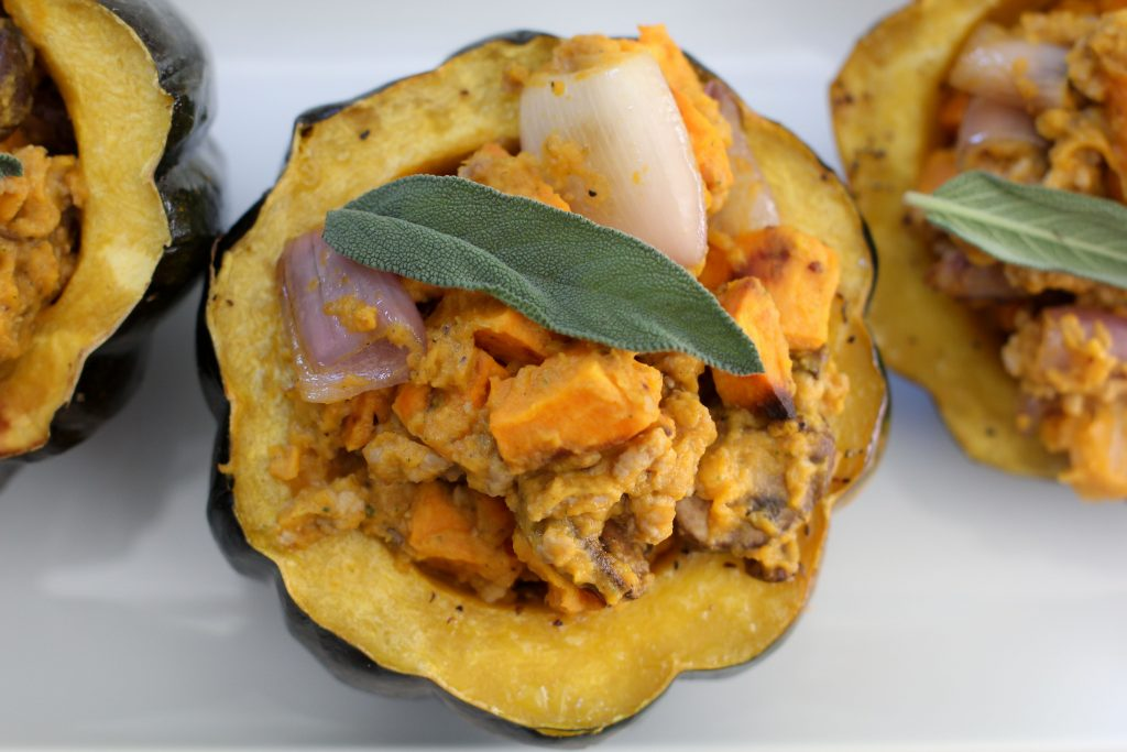 A seasonal Autumn Stuffed Acorn Squash from the Whole Smiths that's paleo-friendly, Whole30 compliant and gluten-free.