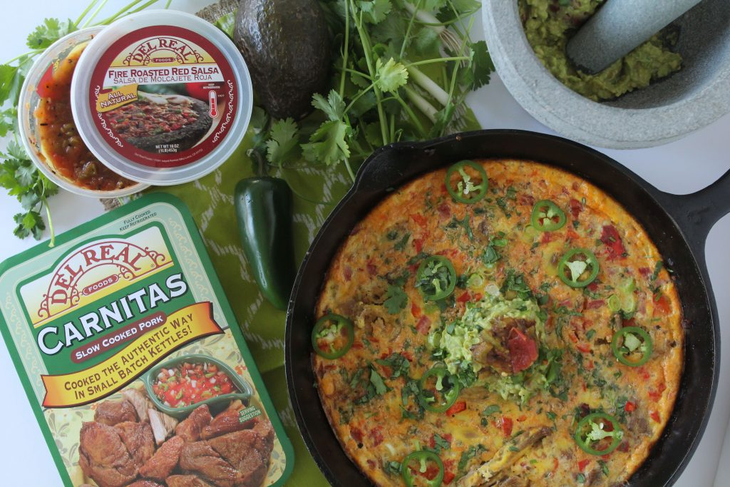 Carnitas Frittata from the Whole Smiths. GREAT for make-ahead breakfasts! Paleo-friendly, gluten-free and grain-free.