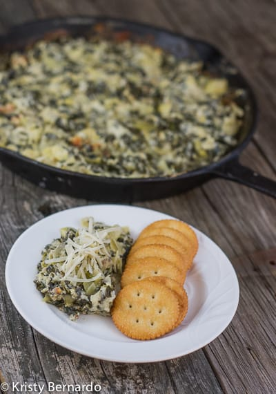 hot, creamy spinach & artichoke dip (low-fat & low-lactose)