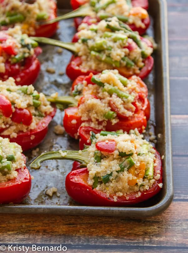 quinoa stuffed peppers {with goat cheese}