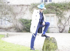 Editorial shot in Wiltshire, with Ronan Summers wearing a Burberry mid-length trench coat in white, a denim jacket and the SS15 cyan rabbit felt bucket hat from the Prorsum runway show, and the wingtip leather brogues