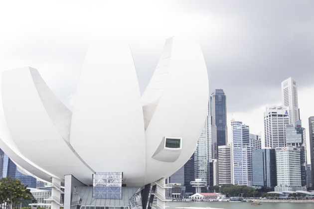 Singapore sky line and the impressive Science and technology Museum
