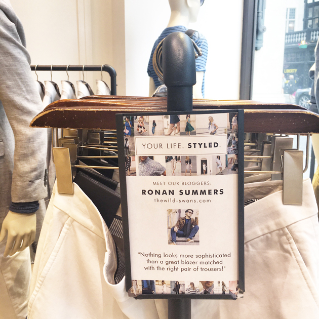 Ronan Summers styled a rail for banana Republic