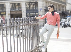 Blogger Ronan Summers wearing a Spring/Summer 2016 Tommy Hilfiger outfit, pin striped trousers and a coral sweater